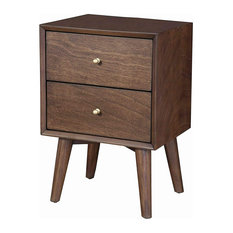 Mid Century Nightstand Slanted Legs And 2 Smooth Gliding Drawers Brown