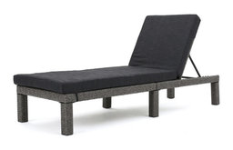 GDF Studio Venice Outdoor Black Wicker Chaise Lounge, Dark Gray Cushion