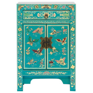 Oriental Decorated Cabinet, Blue, Small
