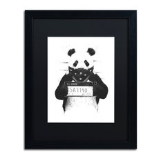 Balazs Solti 'Bad Panda' Framed Art, 16x20, Black Frame, Black Mat
