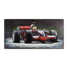 """""""Indy"""" Racing Car Mixed Media Iron Hand Painted Dimensional Wall Art"""