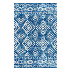 "Moroccan HYPE Boho Vintage Blue and White Area Rug, 7'9""x10'"