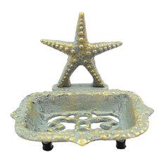 "Antique Seaworn Bronze Cast Iron Starfish Soap Dish, 6"""