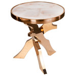 Statements by J - Bracci Marble Top Side Table - This transitional piece has a genuine white marble top with rose gold tripod legs.