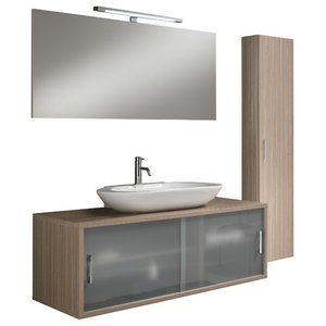 Giava 5-Piece Wall-Mounted Bathroom Vanity Unit, Light Oak, 130 cm