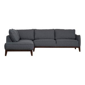 Kendall Modern Sectional Sofa, Dark Grey, Left-Hand Facing