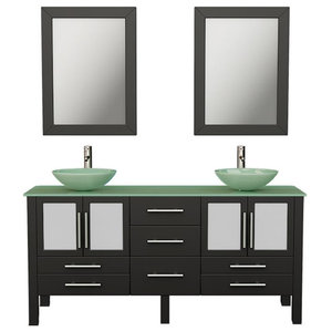 Oregon 63 Espresso Tempered Glass Double Vanity Set Contemporary Bathroom Vanities And Sink Consoles By The Tub Connection Houzz
