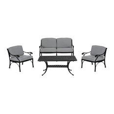 Jessica Outdoor 4 Seater Aluminum Club Chair Set, Matte Black, Light Gray