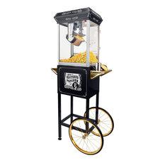 FunTime 8 Oz Vintage Style Popcorn Popper Machine Maker Cart, Black And Gold