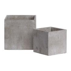 Cement Square Pot In Concrete Finish, Set of 2, Gray