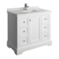 "Fresca Windsor 40"" Matte White Cabinet With Top and Sink"