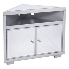 Southern Enterprises - Mirage Mirrored Corner Tv Stand, Natural - Entertainment Centers and Tv Stands