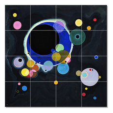 "Wassily Kandinsky Abstract Painting Ceramic Tile Mural #59, 17""x17"""