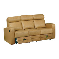 Leather Match Sofa With Two Recliners, Taupe