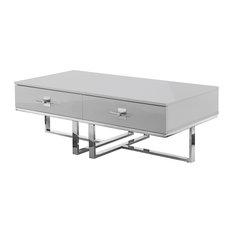 Moku Coffee Table, 2 Drawers, Light Gray and Chrome
