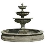 Campania - Estate Longvue Outdoor Water Fountain, Terra Nera - The Estate Longvue Fountain is an exciting and wonderfully elegant water feature for your garden setting. Water bubbles up from a small finial, spilling over three tiered bowls before reaching its destination in the grand pond below. This exciting piece will give your garden a sultry, sensual appeal while creating an intriguing focal point for your favorite decor.