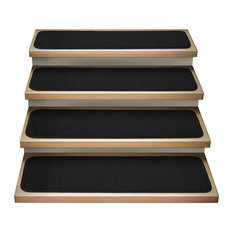 """Set of 12 Attachable Carpet Stair Treads Black, 9""""x36"""""""