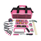 Apollo Tools 201 Piece Household Tool Kit in a Soft-Sided Tool Bag, Pink