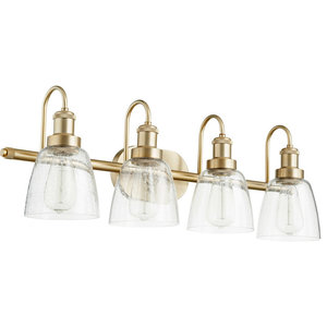 Signature 4 Light Bathroom Vanity Light in Aged Brass