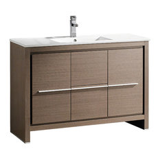 "Allier 48"" Modern Bathroom Cabinet, With Sink, Base: Gray Oak"