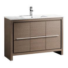 """Allier 48"""" Modern Bathroom Cabinet, With Sink, Base: Gray Oak"""
