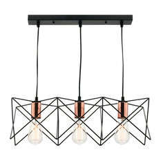 Orlando 3 Light Metal Cage Pendant Light With Rose Gold Sockets