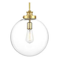 Progress Lighting P5328-104 Penn 1-Light Large Pendant, Polished Nickel, Natural