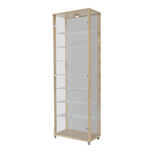 Vitrine Display Cabinet With LED, 2 Door, 7 Shelves, Maple