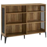 """52"""" Mesh Side Industrial Bookshelf, Reclaimed Barnwood"""