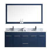 "Amelie 60"" Double Vanity, White Carrara Marble Top, White Sink and 60"" Mirror, N"