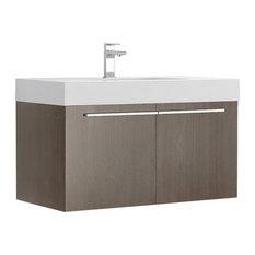 Fresca Vista 36-inch Gray Oak Modern Bathroom Vanity With Integrated Sink