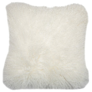 Mongolian Lambskin Scatter Cushion, White