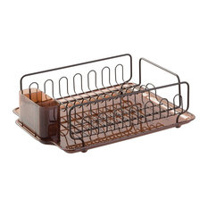 iDesign Forma Lupe Kitchen Dish Drainer Rack with Tray, Amber and Bronze