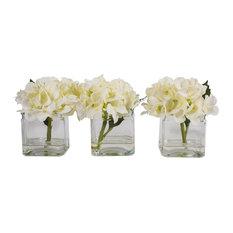 "5"" Hydrangea in Cube, White"