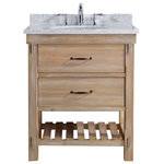 "Ari Kitchen and Bath - Marina 30"" Bathroom Vanity, Driftwood Finish - Strike the right balance between fashion and function in your compact bathroom with the Marina Vanity. With a pair of drawers and an exposed single shelf, this 30-inch piece poses a storage solution for your small-space design. Its welcoming driftwood finish and Carrara marble top fit this vanity for your farmhouse, rustic or cottage style."