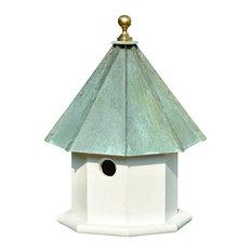 Oct-Avian Bird House, White With Verdi Copper Roof