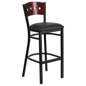 Black 4 Square Back Metal Rest. Barstool-Mahogany Wood Back, Black Vinyl Seat