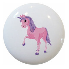Pink Purple Unicorn Ceramic Cabinet Drawer Knob