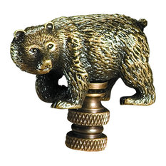 1.75 Inches high Walking Bear Lamp Finial in Antique Brass finish