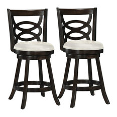 CorLiving Counter Height Espresso Stained Wood Barstool - Set of 2