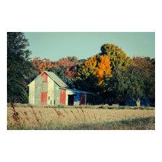 """""""Patriotic Barn in Field Cross"""" Landscape Photo Unframed Wall Art Print, 11""""x14"""""""