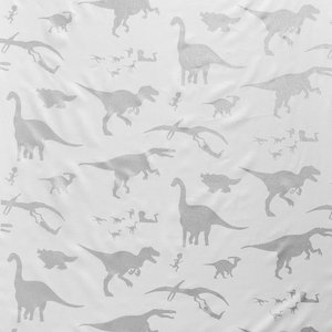 """PaperBoy Interiors """"D'ya-Think-E-Saurus"""" Fabric, White and Silver"""