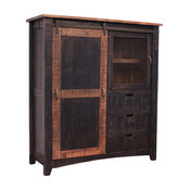 Greenview Rustic Black Farmhouse-Style Armoire Gentleman's Chest