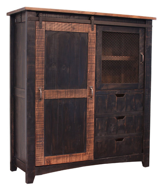 Charmant Greenview Rustic Black Farmhouse Style Armoire Gentlemanu0027s Chest