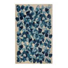 """Blue Faded Moon Contemporary Modern Area Rug, 7'6""""x9'6"""""""
