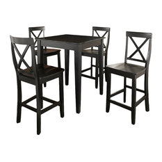 5-Piece Pub Dining Set With Tapered Leg and X-Back Stools, Black Finish