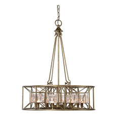 Midcentury Modern Faceted Round Cage Chandelier, Swedish Gold Silver Glass
