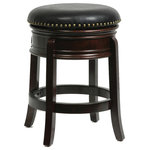 """Boraam - Hamilton Swivel Stool, Cappuccino, 24"""" - The Hamilton Swivel Bar Stool from Boraam Industries, Inc. boasts a solid hardwood footrest and upholstered cushioned seat. Boasting a 360-degree swivel mechanism, this piece has been designed with your comfort in mind. This stool also features a high-density foam seat cushion upholstered in shiny black bonded leather with 17th Century-inspired brass nailhead trim. Exuding a warm, luxurious feel, thanks to its rich colors and sumptuous textures, this stool from Boraam Industries, Inc. makes a sophisticated addition to any interior space."""
