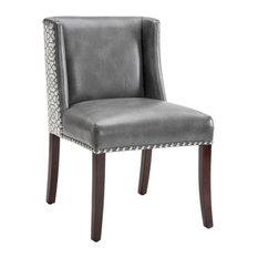 ARTEFAC   Low Back Attractive Dining Chair With Silver Nailhead Trim    Dining Chairs