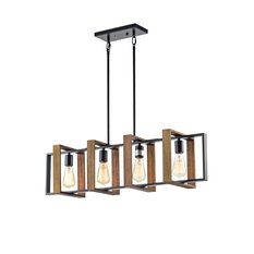 4-Light Matte Black and Wood Farmhouse Linear Chandelier with Exposed Bulbs